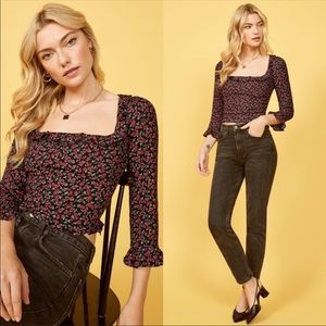 NWT! Reformation Barb Crop Floral Top